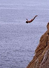 The famous cliff divers of Acapulco