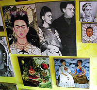Frida Kahlo paintings in an art store, Copyright 2004 Mexonline.com