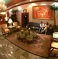 Lobby at a hotel in Mochis